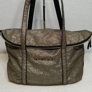 Victoria Secret Tote Bag Weekend Bag  Gold